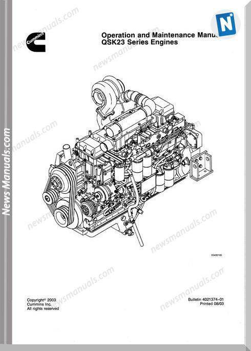 Cummins Qsk23 Engine Service Manual Repair Manuals Operation And Maintenance Cummins