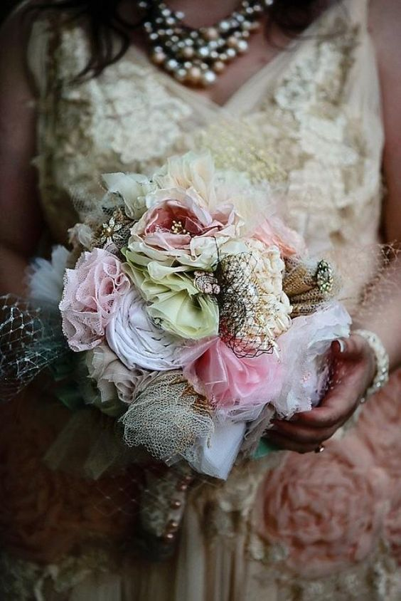 I use a variety of upcycled and recycled materials, like fabric from unwearable wedding dresses, prom,