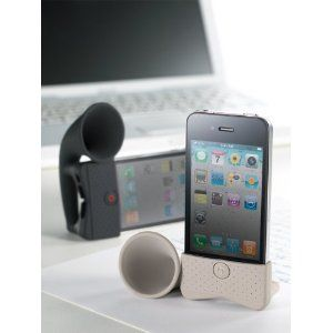 PORTABLE AMP FOR IPHONE HORN STAND WHITE