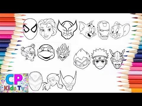 Wolverine Elsa Power Rangers Coloring Pages How To Color Superheroes Heads Youtube Power Rangers Coloring Pages Coloring Pages Power Rangers