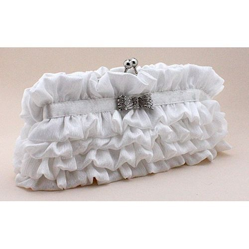 White Soft Silk Fringe Bridal Wedding Party Bag Purse Clutch Wallet  SKU-1110471