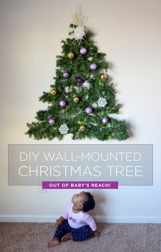 Have A Baby Or Toddler Make A Diy Tree You Can Mount On The Wall Out Of Their Reach Using Su Wall Christmas Tree Diy Christmas Tree Alternative Christmas Tree