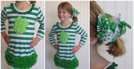 This adorable ruffle dress is made of a soft, stretchy cotton blend. The fun green striped dress has an appliquéd polka dot shamrock on the front. Chiffon ruffles trim the bottom of this cute boutique style! SIZES:XSmall - Fits 1-2 years Small - Fits 2-3 yearsMedium - Fits 3-4 yearsLarge - Fits 4-5 yearsXLarge - Fits 5-6 yearsXXLarge - Fits 6-7 years