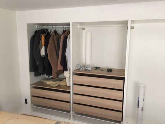 ikea hack built in wall of wardrobes they even put plaster around it to create a seamless. Black Bedroom Furniture Sets. Home Design Ideas