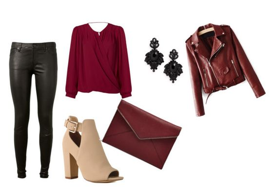 """""""marsala look"""" by fany-3 on Polyvore featuring moda, Paper Crown, AG Adriano Goldschmied, Tasha y Rebecca Minkoff:"""