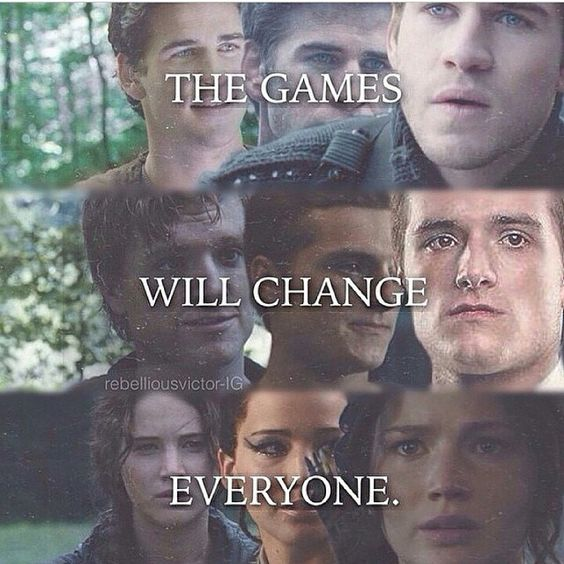 Evolution of our loved characters (except I think peeta is a wimp... #teamgale)