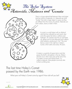 Asteroids and Comets Science, Worksheets and Science