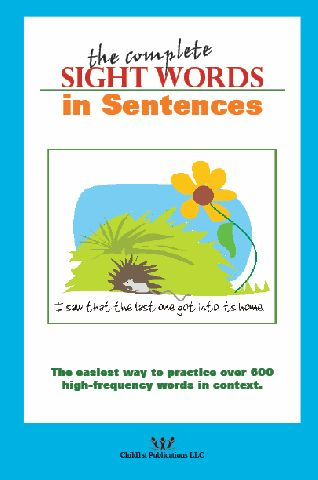 The Complete Sight Words in Sentences contains 400 leveled sentences to provide practice with over 600 sight words. Colorful and fun, this book is great for sight word assessment or fluency practice.
