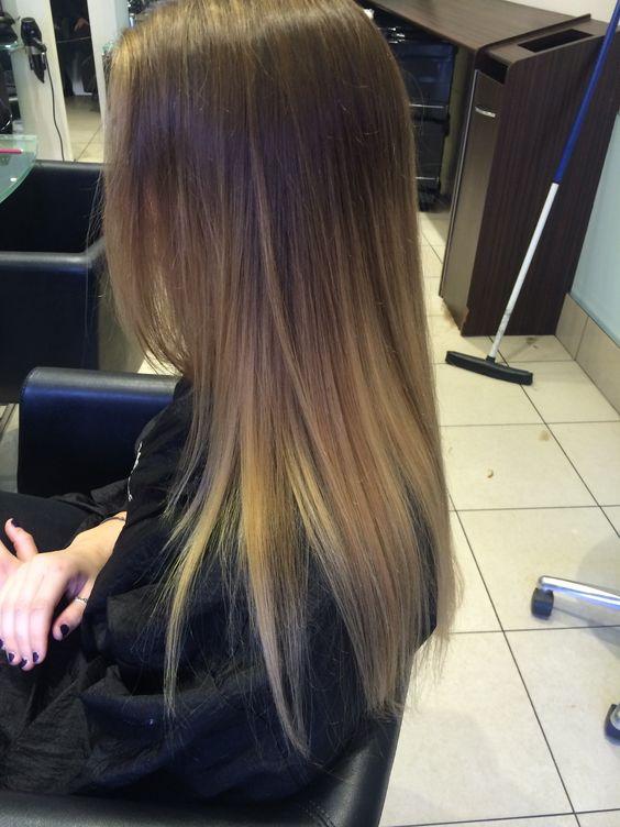 Tendencia, Cortes, Cabello, Peinados, Moda Suave, Recta De Moda, Pelo, Balayage Hair Brunette Straight, Ombré Brunette