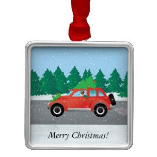 Jack Russell Terrier Driving Car Tree on Top Square Metal Christmas Ornament