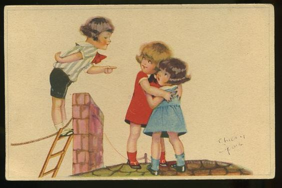 Girls and boy on roof near chimney, by Chicky Spail ?, NPG 2231: