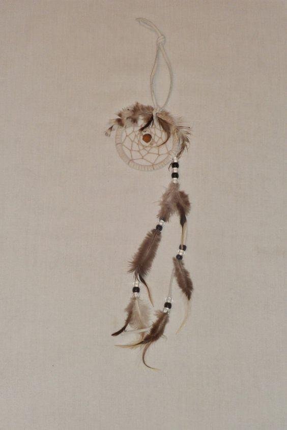 Dreamcatcher white leather & black webbing by EnchantedRoseProduct, $10.00