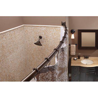 Moen 72 Adjustable Curved Shower Curtain Rod Shower Curtain