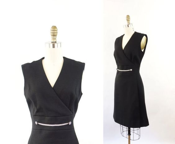 VINTAGE 1960s Black Dress Rhinestone Knit Sleeveless Medium