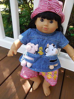 "15"" American Girl Bitty Twin or Baby Farmer Outfit with Calf & Piglet"