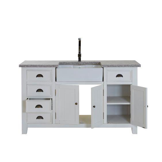 Spülschrank Granitplatte 5 Schübe 3 Türen weiß 155x90x65cm - Modell Giraumount Wohnen & Schlafen Schränke & Kommoden Küchenschränke Spülbeckenunterschränke