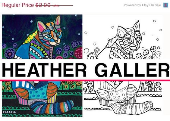 50 off diy cat instant coloring book page art digital download print heather galler