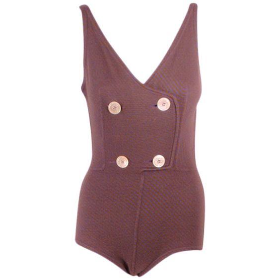 Rudi Gernreich - Rudi Gernreich Vintage Purple & Tan Striped Swimsuit... ❤ liked on Polyvore