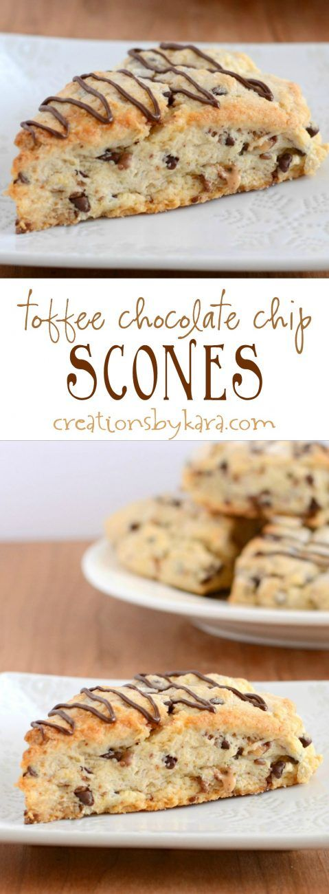 Recipe for yummy toffee chocolate chip scones. Loaded with chocolate chips and toffee, these are some of the most decadent scones you will ever eat!