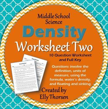 Density worksheet middle school science
