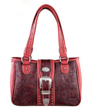 Red Tooled Buckle Satchel