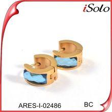Joyeria acero inoxidable fashion crystal earring with blue stone