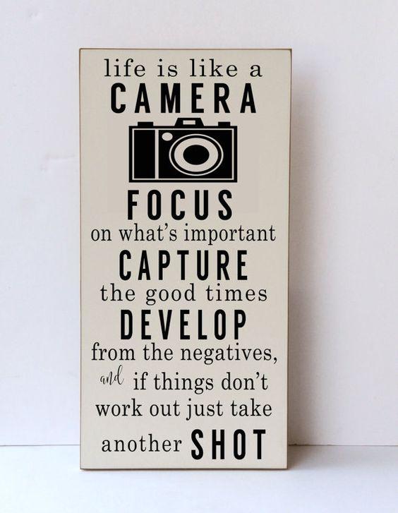 Life Is Like A Camera Wood Sign Camera Decor Art Camera