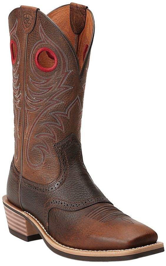 Ariat Heritage Roughstock Men&39s Brown Oiled Rowdy Square Toe