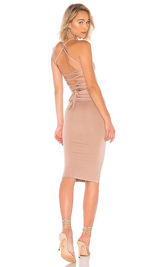 Superdown Yvonne Laced Back Midi Dress In Taupe Revolve Dresses Midi Dress Lace Back