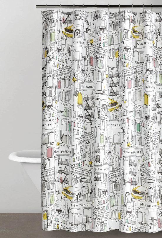 Marvelous New York City Skyline Bus Taxi Cab Water Silo Bathroom Shower Curtain |  City Skylines, Kid Bathrooms And Bath Shower