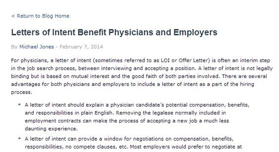 Letters of Intent Benefit Physicians and Employers Physician - letters of intent