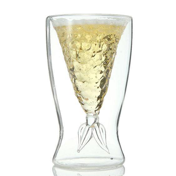 100ml Double Fishtail Mermaid Beer Glass Mug Wine Glass Cup