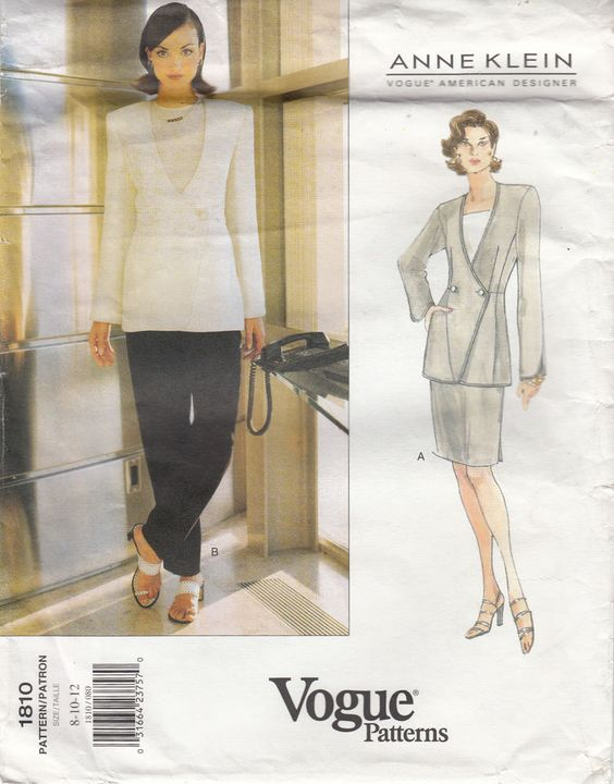 A Line Jacket Skirt Pants Semi Fitted Vogue Sewing Pattern 1810 Anne Klein Uncut #Vogue1810 #jacketskirtpants