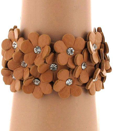 $2.75 Light Brown Leather Flower Bracelet