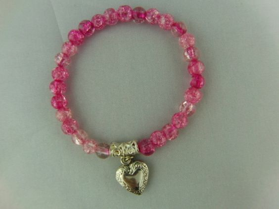Pink Crackle Bead Bracelet with Silver Plated Opening Heart Locket £7.50