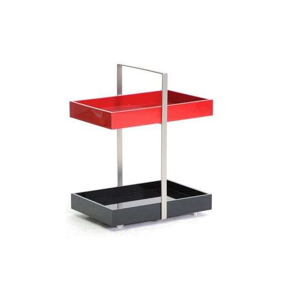 Zuna Black and Red Wheeled Modern End Table