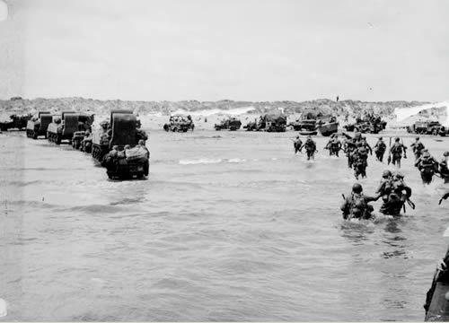 Utah Beach: U.S. troops and material moving ashore after the initial assault, june 1944.