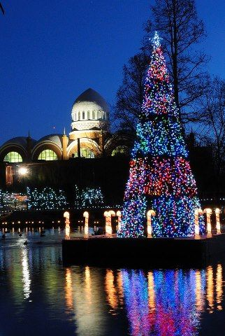 Cincinnati Zoo during Festival of Lights.  Pachyderm house in the background. Cincinnati, Ohio