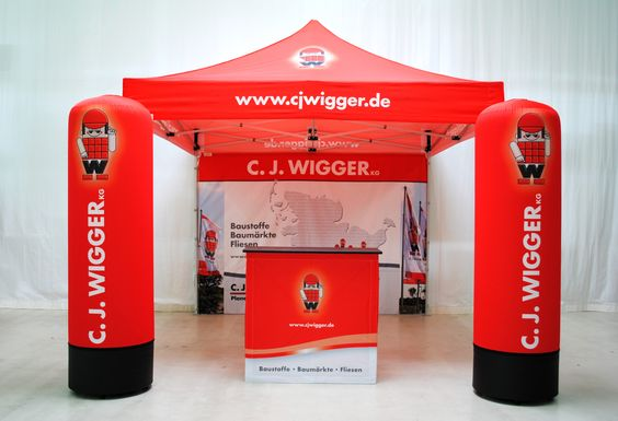 Outdoor Messestand, Display-Kombination, Produkt-Kombi - Faltzelt, Promotiontheke, Werbesäule