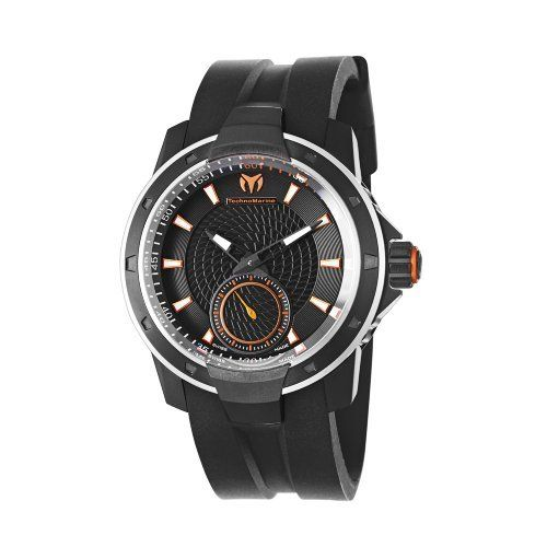TechnoMarine Men's 610006 UF6 3 Hands Black Dial Watch TechnoMarine. $1080.00. Black rubber strap. Black PVD case and bezel. Water-resistant to 660 feet (200 M). Hour, minute, small second, anti reflective sapphire crystal. 3 hands 45 mm black and orange dial. Save 10% Off!