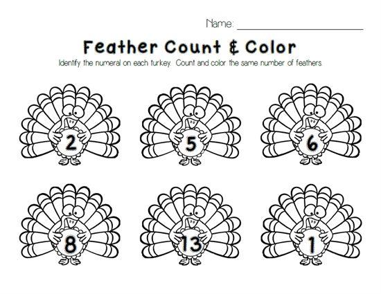Turkey Feather Count & Color Printable | Activities, Kindergarten ...