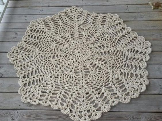 Giant Doily Rug Shabby Chic French Country by JFeathersDesigns