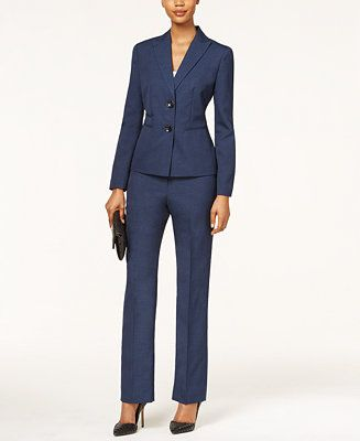 Le Suit Two-Button Textured Weave Pantsuit - Wear to Work - Women - Macy's