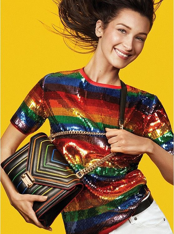 From Michael Kors, the Whitney Large Rainbow Quilted Leather