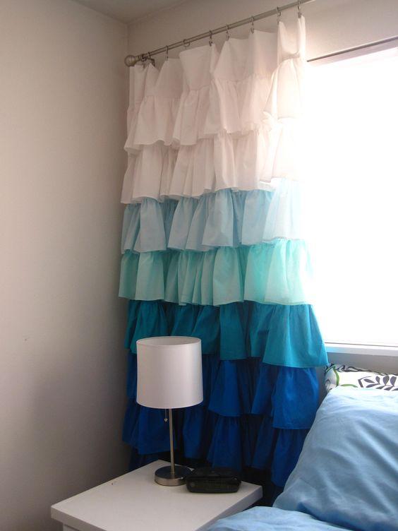 DIY Ruffle Curtains | Blue fabric, Girls and Cute curtains