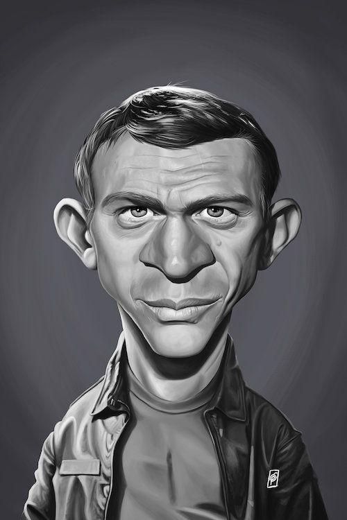 Steve Mcqueen Canvas Art By Rob Snow Icanvas Steve Mcqueen Celebrity Caricatures Funny Caricatures