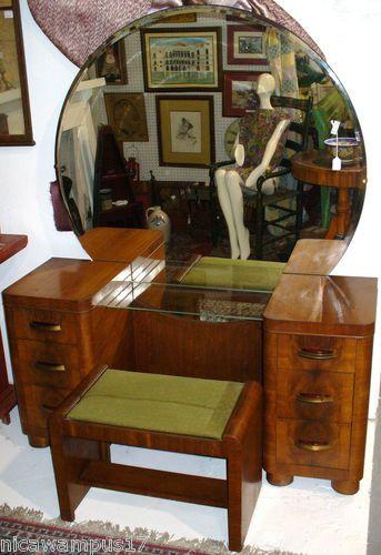Mid century modern 6 drawer burl walnut vanity w round for Antique vanity with round mirror