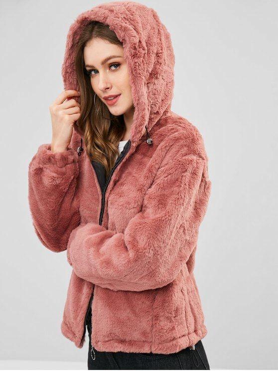 Women Cute Plush Hoodies Button Hooded Winter Warm Faux Wool Blouse Sweatshirt Pullover Shirts Tops