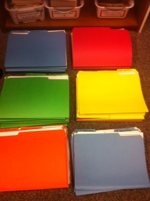 Organizing Files at School - color coded by subject area!