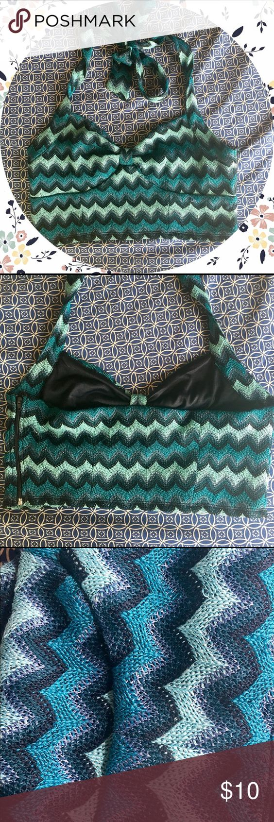 Chevron Crop Top Cute woven festival crop top in great condition, never worn. Toes behind the neck which makes it a bit adjustable, and there's a zipper on the side. Really pretty gradient blues. No trades. ⭐️HIT THE OFFER BUTTON! ⭐️ BUNDLE 2+ ITEMS FOR 25% OFF! ⭐️ Forever 21 Tops Crop Tops
